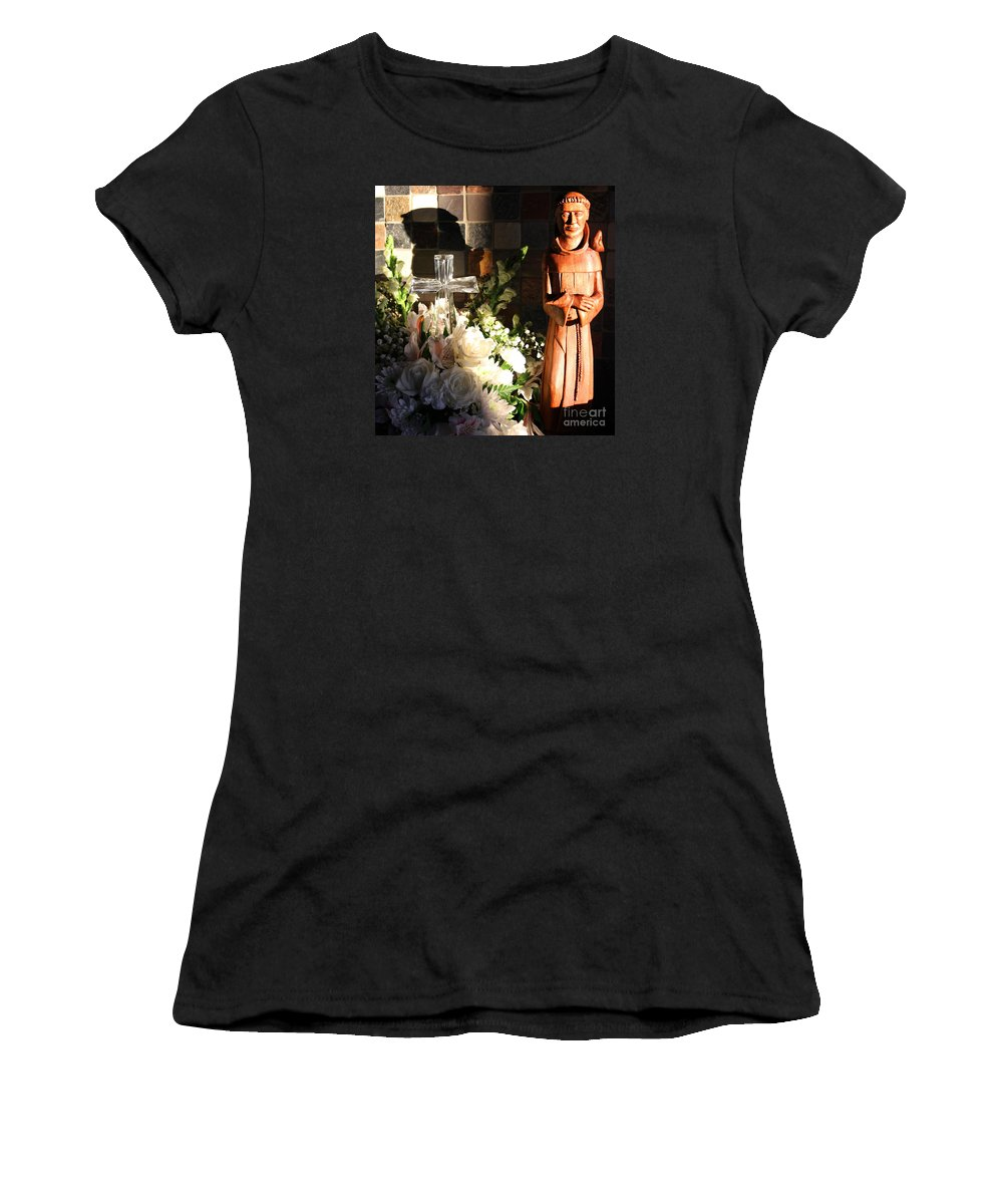 Saint Women's T-Shirt (Athletic Fit) featuring the photograph St. Francis Of Assisi By George Wood by Karen Adams