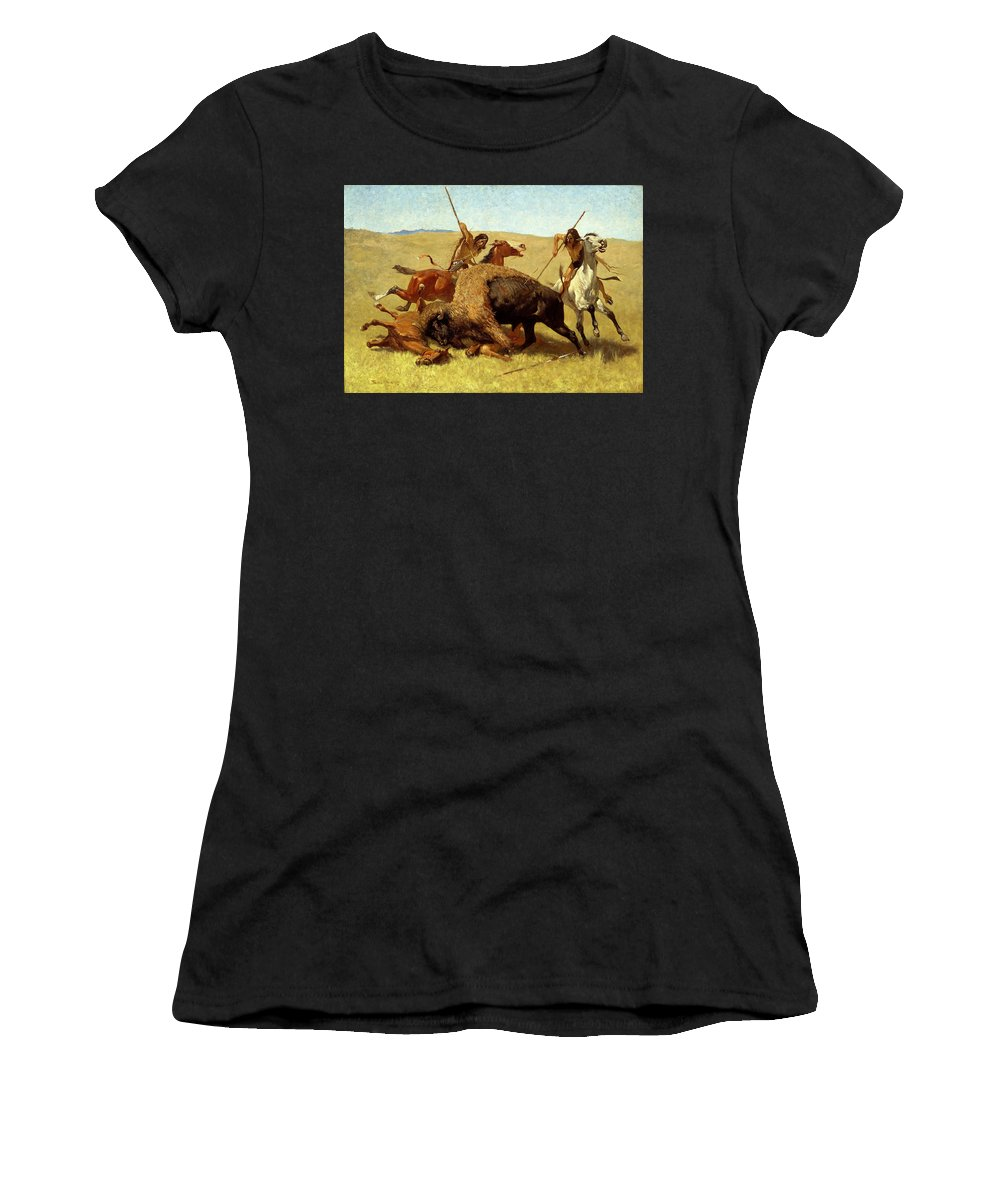 Frederic Remington Women's T-Shirt (Athletic Fit) featuring the painting The Buffalo Hunt by Frederic Remington