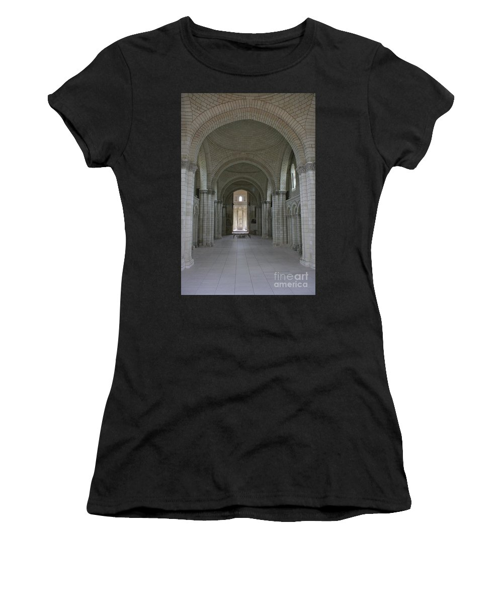 Nave Women's T-Shirt featuring the photograph The Nave - Cloister Fontevraud by Christiane Schulze Art And Photography