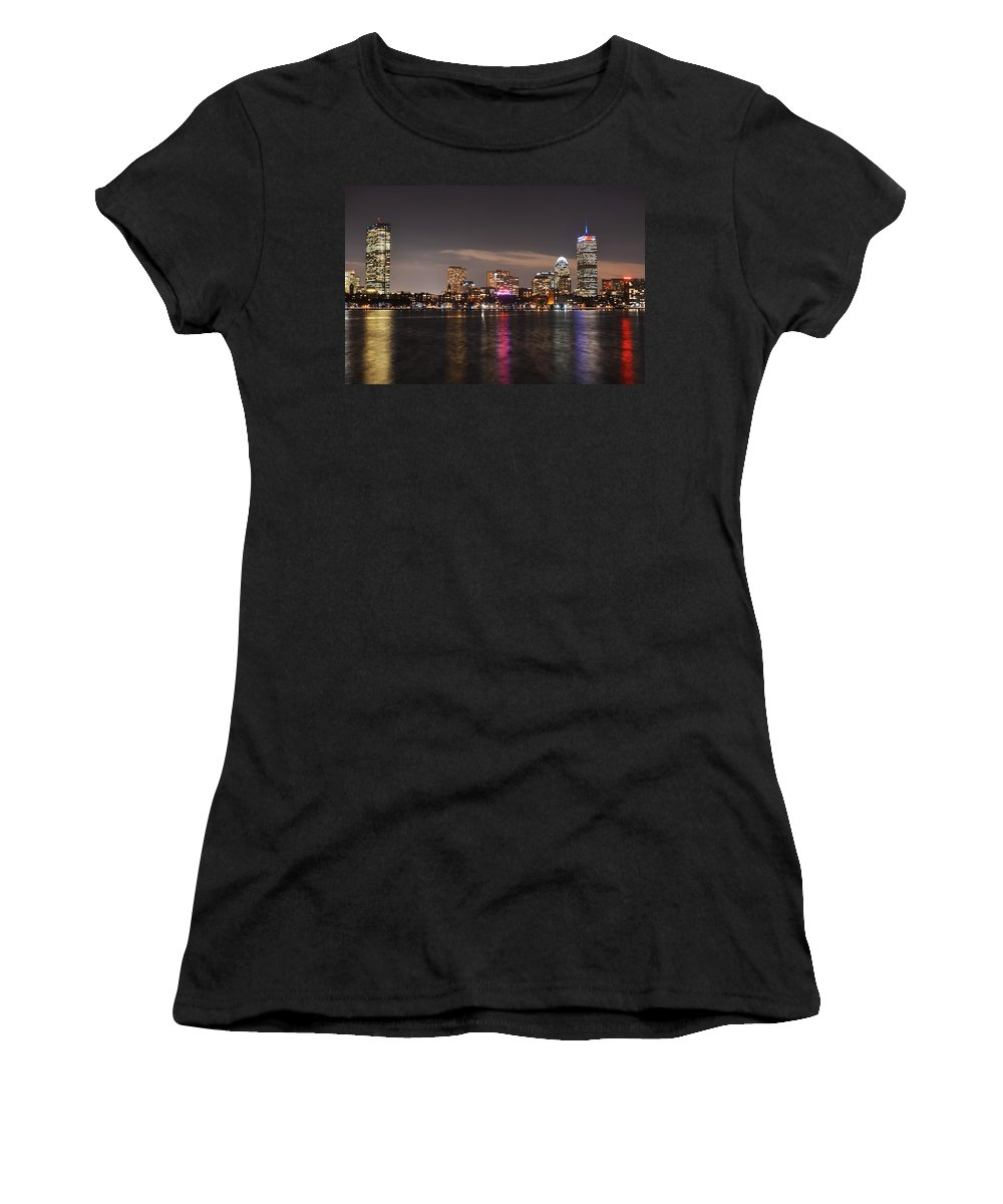 Boston Women's T-Shirt (Athletic Fit) featuring the photograph The Prudential Lit Up In Red White And Blue by Toby McGuire
