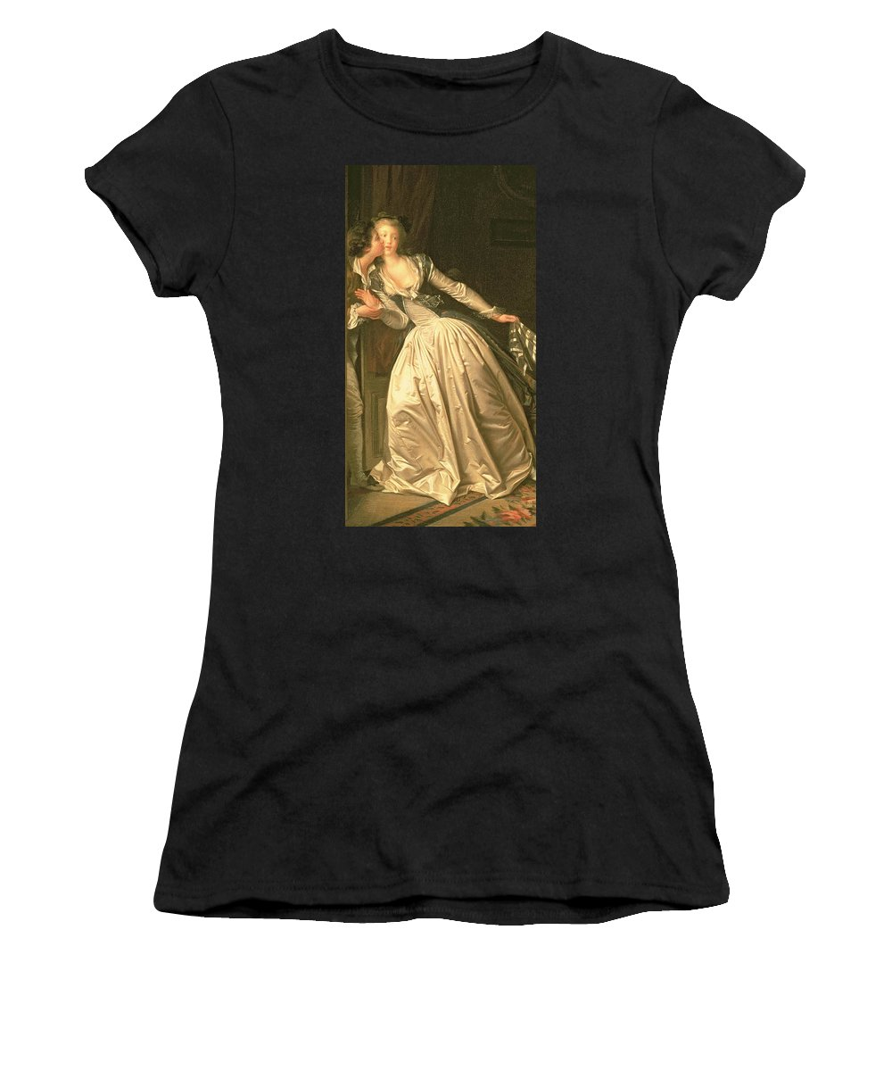 Silk;romance Women's T-Shirt (Athletic Fit) featuring the painting The Stolen Kiss by Jean Honore Fragonard