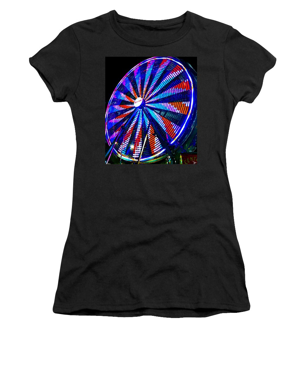 Ferris Wheel Women's T-Shirt featuring the painting The Wheel That Ferris Built by David Lee Thompson