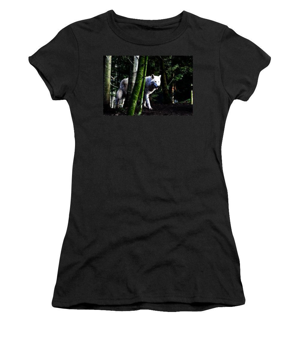 Wolf Art Women's T-Shirt featuring the photograph The White Wolf by Steve McKinzie