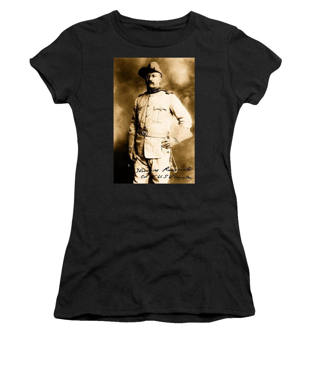 Theodore Roosevelt Women's T-Shirt (Athletic Fit) featuring the photograph Theodore Roosevelt 1898 by Mountain Dreams