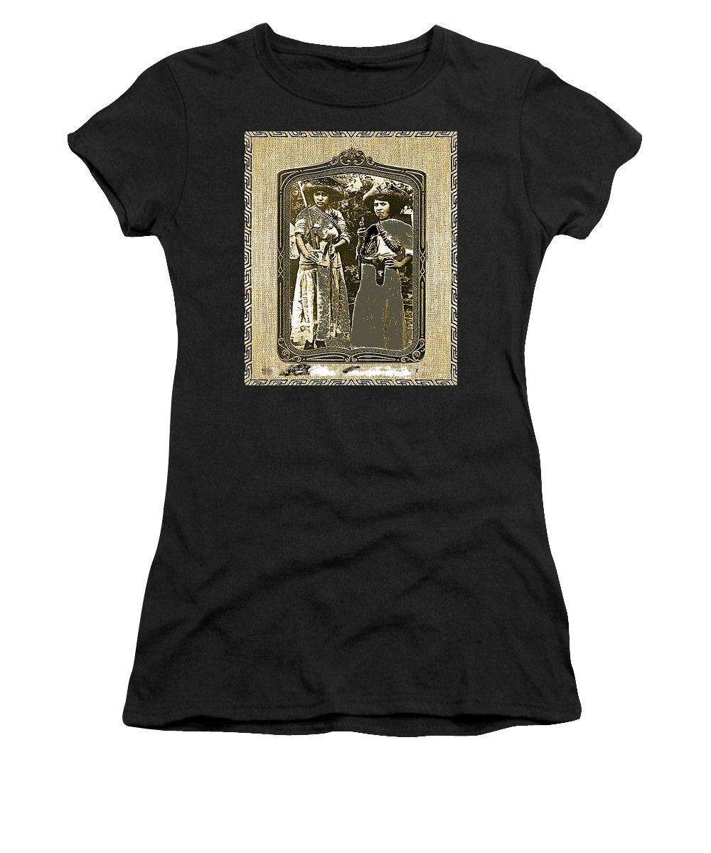 Two Soldaderas Unknown Mexico Location Or Date-2014 Women's T-Shirt (Athletic Fit) featuring the photograph Two Soldaderas Unknown Mexico Location Or Date-2014 by David Lee Guss