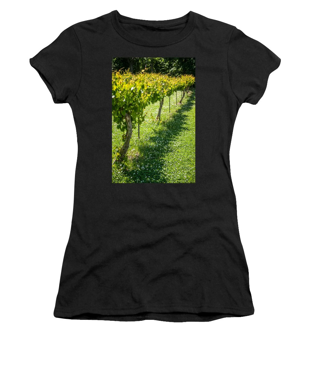 View Women's T-Shirt (Athletic Fit) featuring the photograph Vineyard Farm by Alex Grichenko