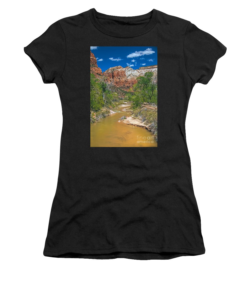 Zion National Parks Women's T-Shirt (Athletic Fit) featuring the photograph Virgin River by Robert Bales