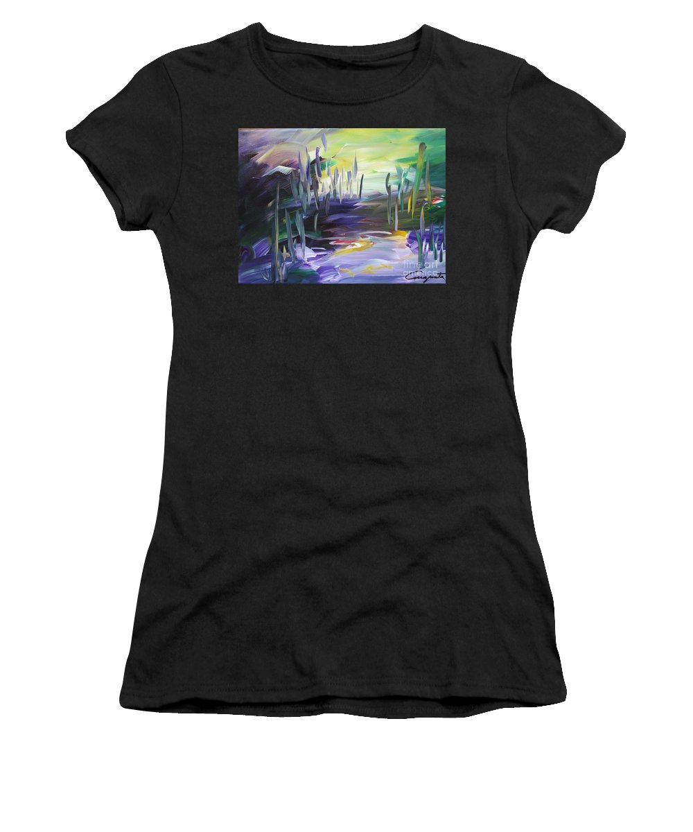 Abstract Landscape Women's T-Shirt (Athletic Fit) featuring the painting Walking Through by Augusta Lourenco- Dias