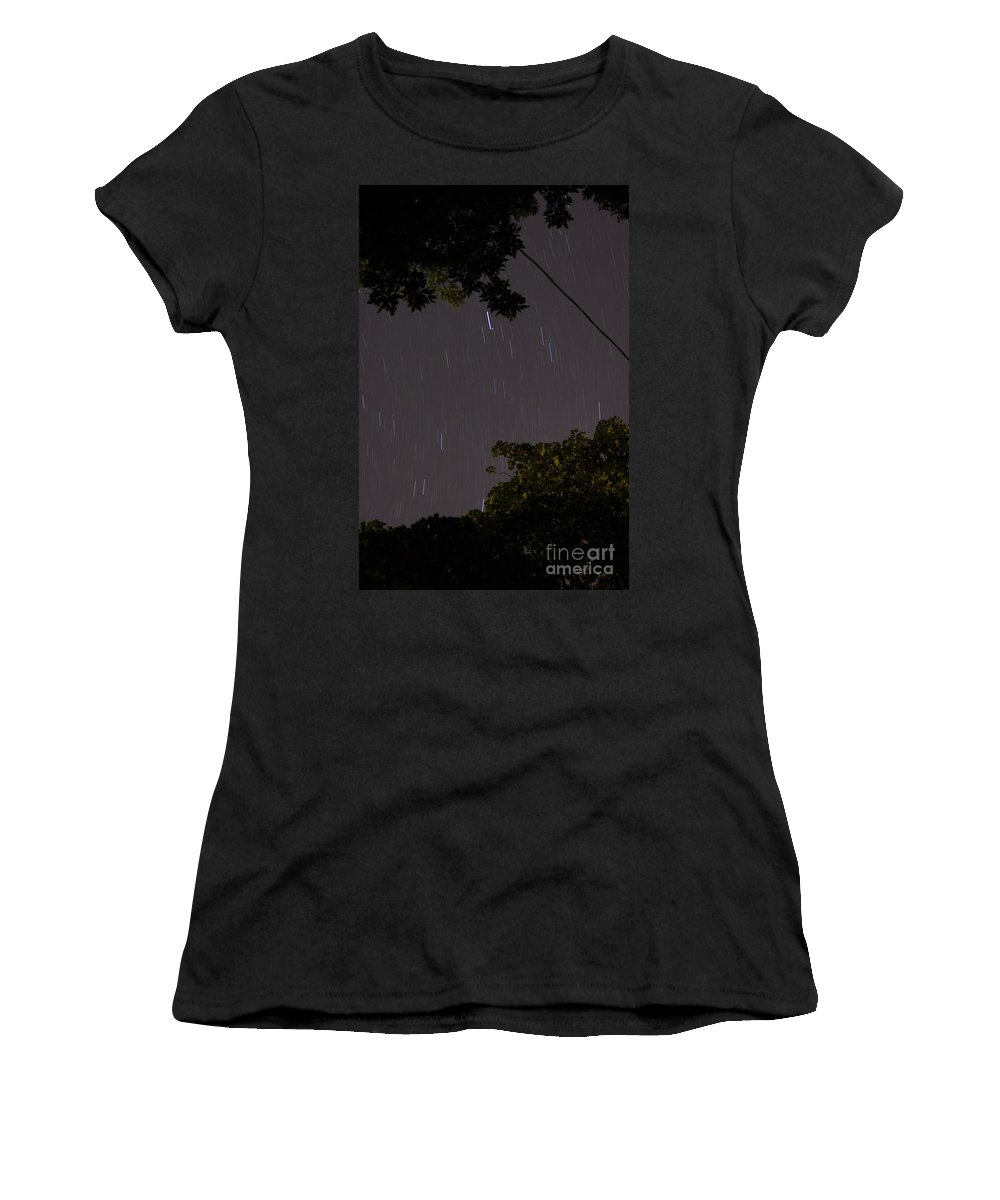 Long Exposure Women's T-Shirt featuring the photograph 10 Min Exp Starry Night by Lori Amway
