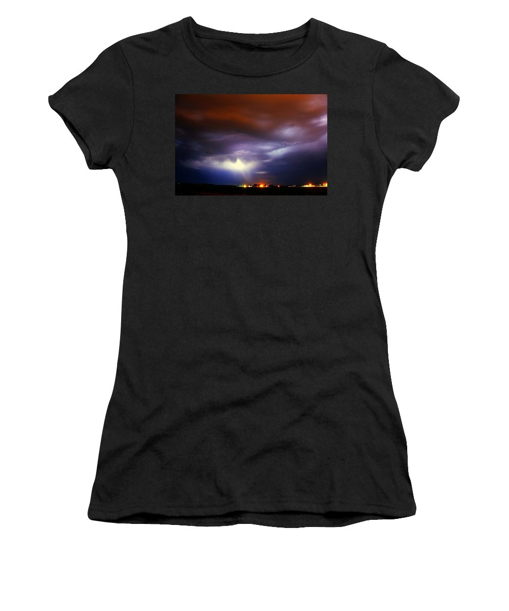 Stormscape Women's T-Shirt (Athletic Fit) featuring the photograph Nebraska Cells Redevloping Over South Central Nebraska by NebraskaSC