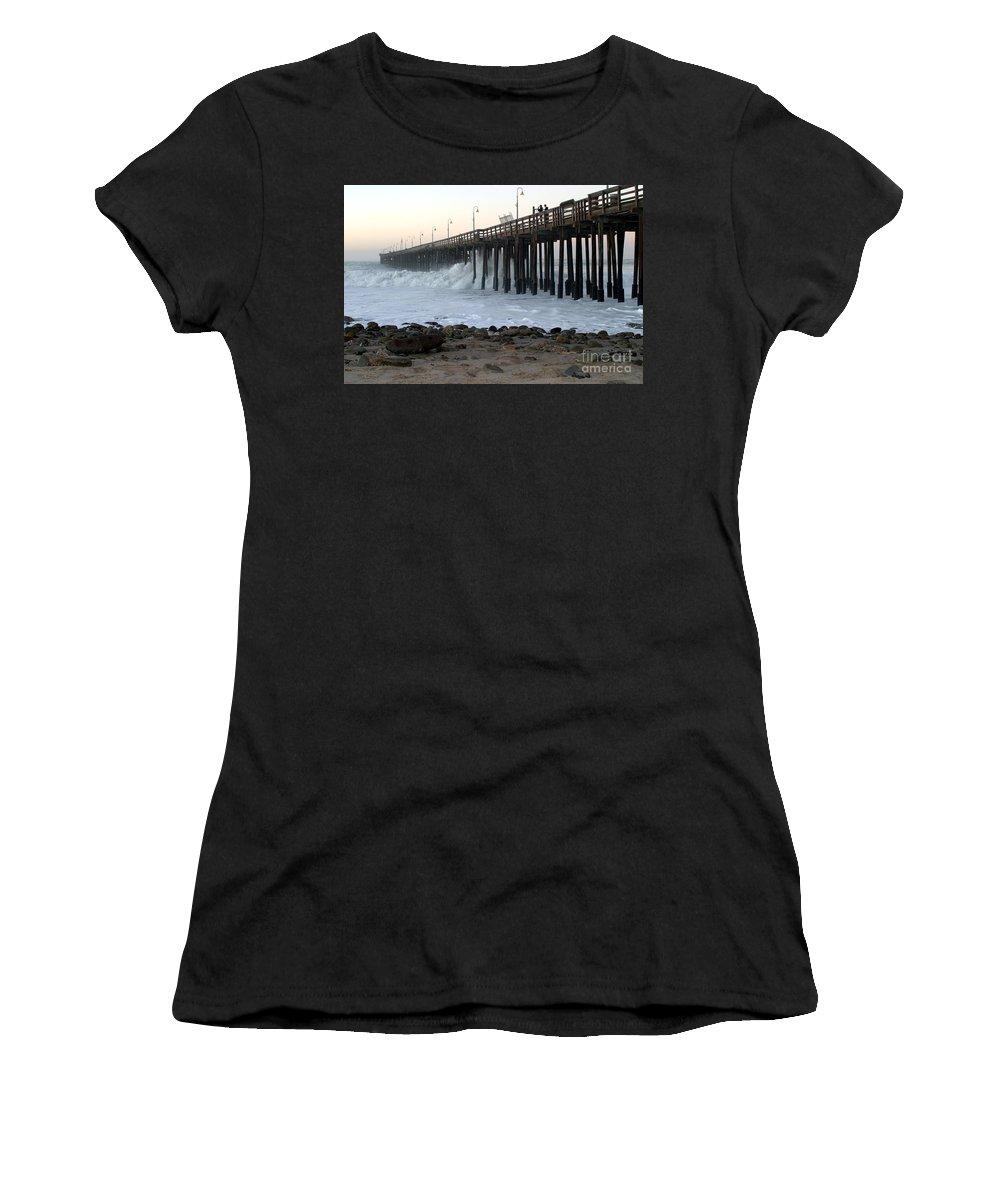 Sunrise Women's T-Shirt (Athletic Fit) featuring the photograph Ocean Wave Storm Pier by Henrik Lehnerer