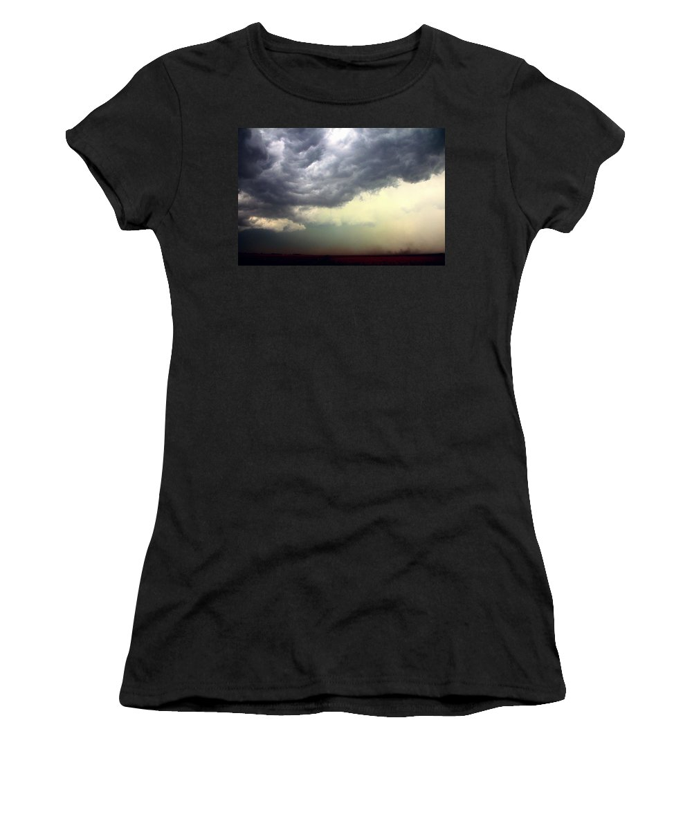Stormscape Women's T-Shirt featuring the photograph Severe Cells Over South Central Nebraska by NebraskaSC