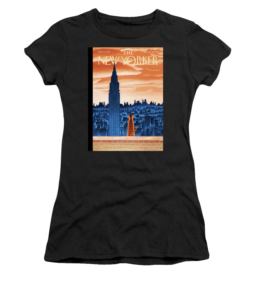 Nyc Women's T-Shirt featuring the painting New Yorker January 12th, 2009 by Mark Ulriksen