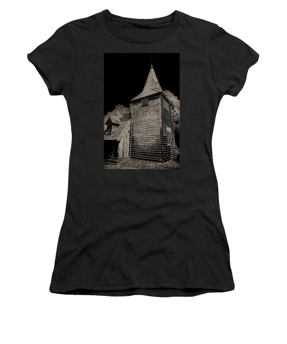 Church Women's T-Shirt (Athletic Fit) featuring the digital art Greensted Church by David Pyatt