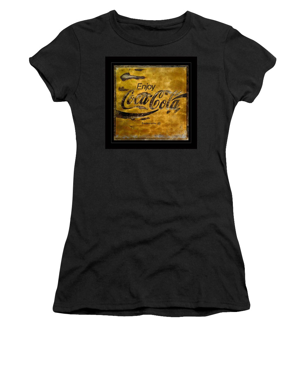 Coca Cola Women's T-Shirt featuring the photograph Coca Cola Sign Grungy Retro Style by John Stephens