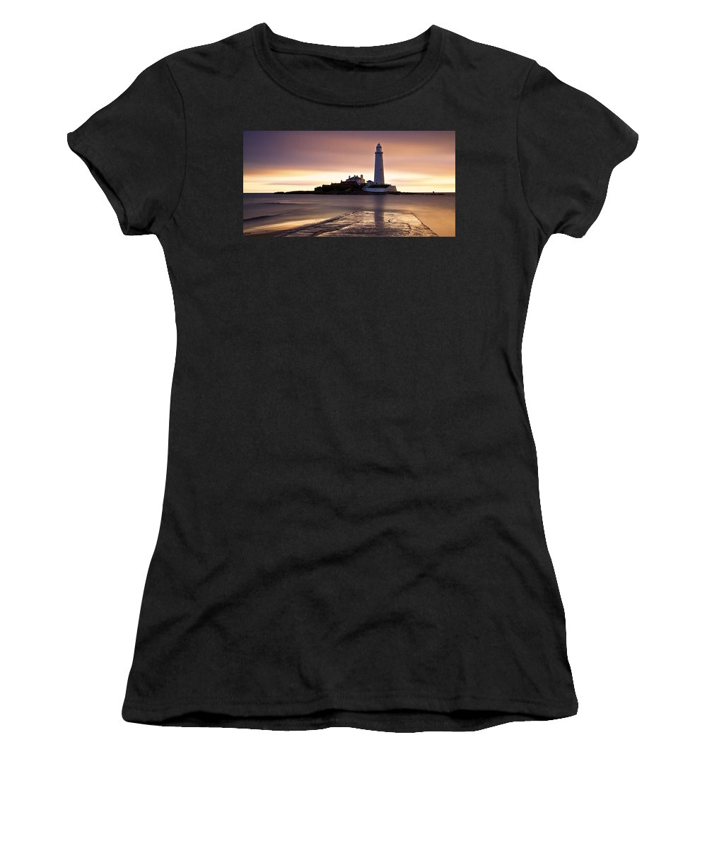 St Marys Women's T-Shirt (Athletic Fit) featuring the photograph St Marys Lighthouse by David Pringle
