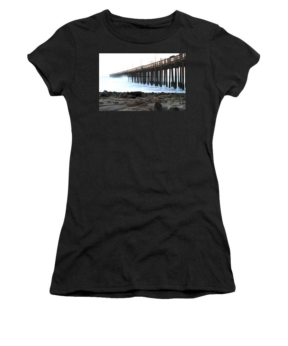 Sunrise Women's T-Shirt (Athletic Fit) featuring the pastel Ocean Wave Storm Pier by Henrik Lehnerer