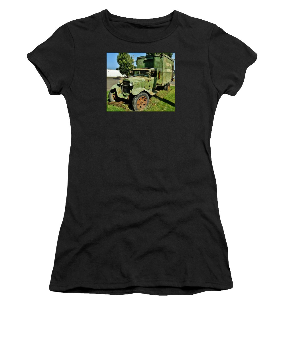 1920's (but Women's T-Shirt (Athletic Fit) featuring the photograph 1920s Ford Moving Truck by VLee Watson