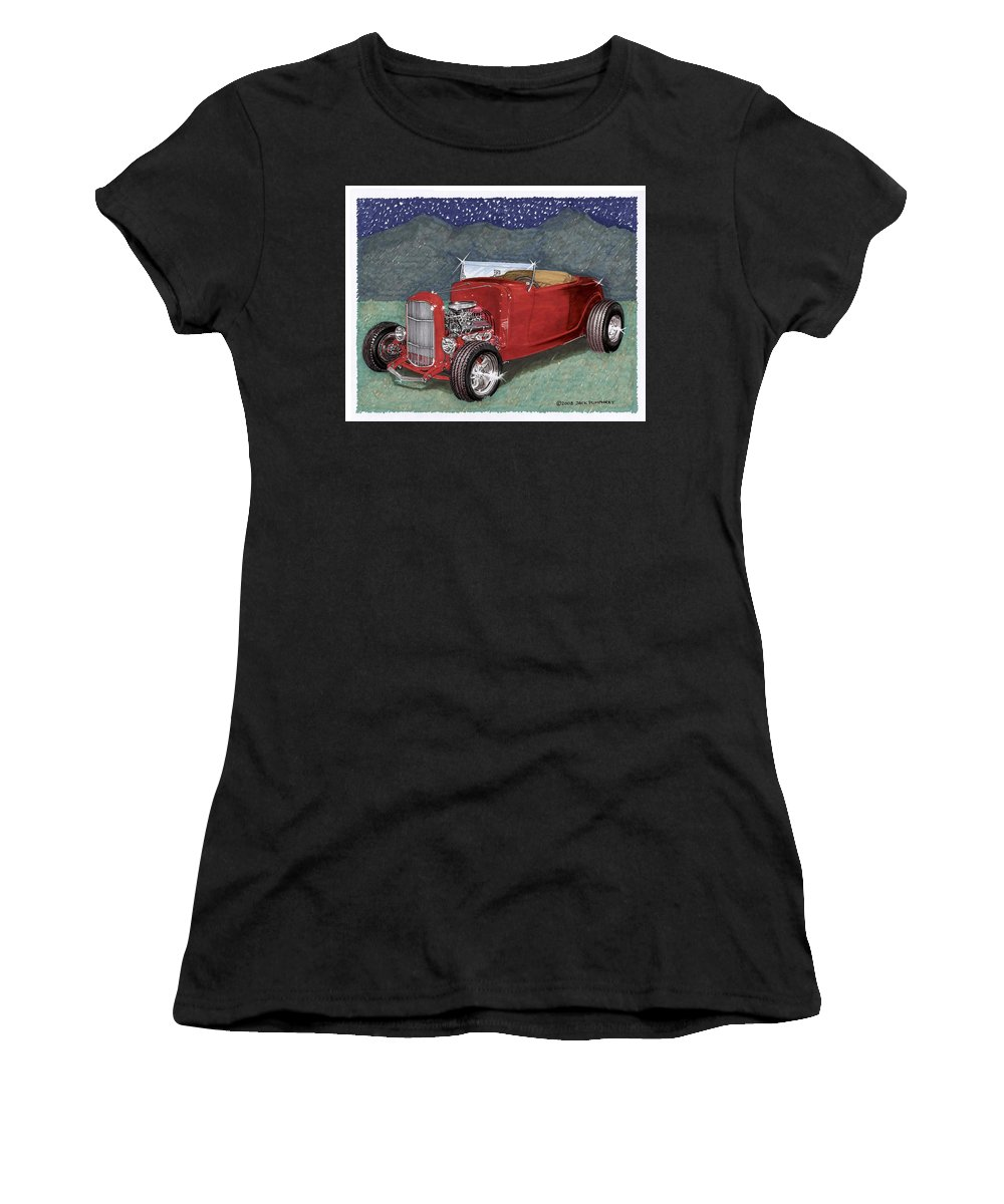 Classic Car Art Women's T-Shirt (Athletic Fit) featuring the painting 1932 Ford High Boy by Jack Pumphrey