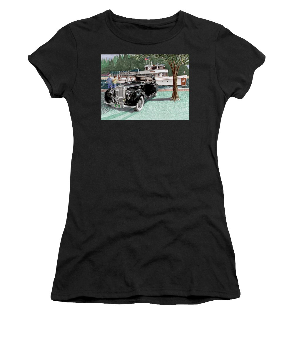 Classic 1936 Bentley British Car Art Women's T-Shirt (Athletic Fit) featuring the painting Bentley Waving To Malibu by Jack Pumphrey