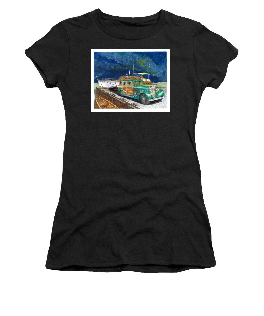 Classic Car Art Women's T-Shirt (Athletic Fit) featuring the painting 1936 Hispano Suiza Shooting Brake by Jack Pumphrey