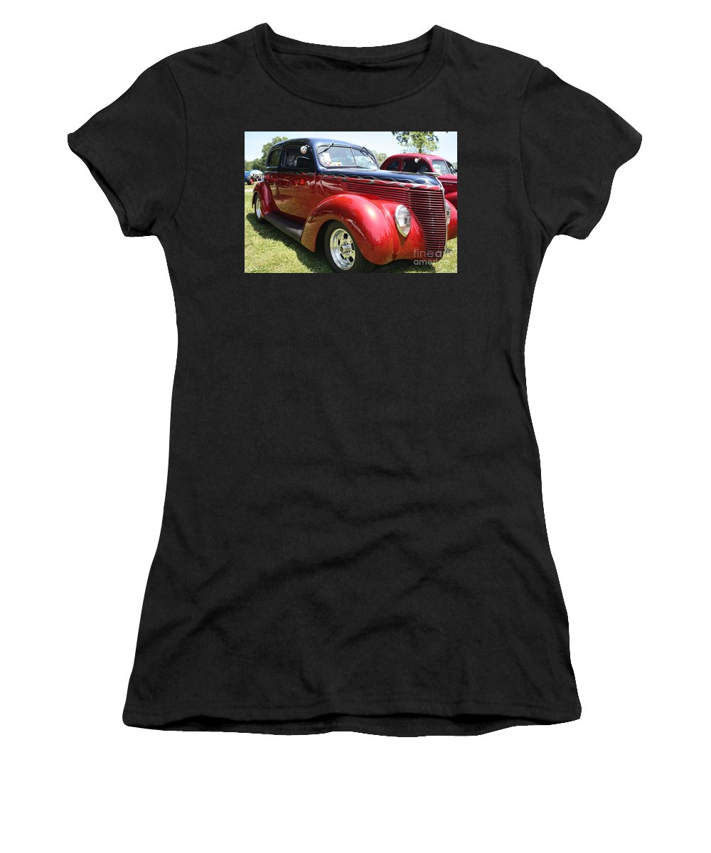 1938 Ford Two Door Sedan Women's T-Shirt (Athletic Fit) featuring the photograph 1938 Ford Two Door Sedan by John Telfer