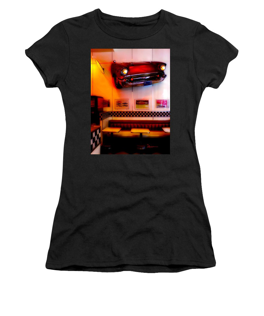 Chevy Women's T-Shirt featuring the photograph 1950s American Diner - Featured In Vehicle Enthusiasts by Ericamaxine Price