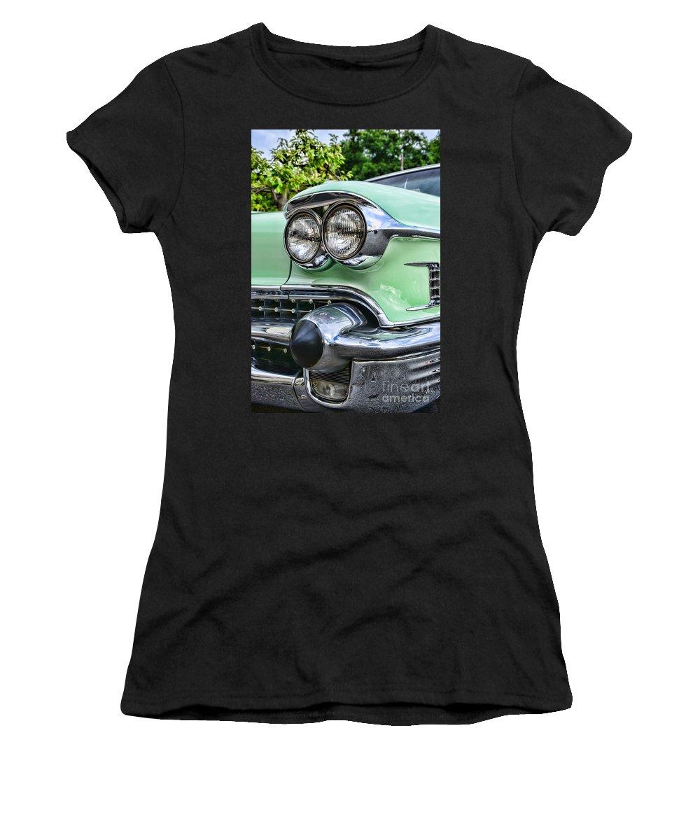 1958 Cadillac Head Lights Women's T-Shirt featuring the photograph 1958 Cadillac Headlights by Paul Ward
