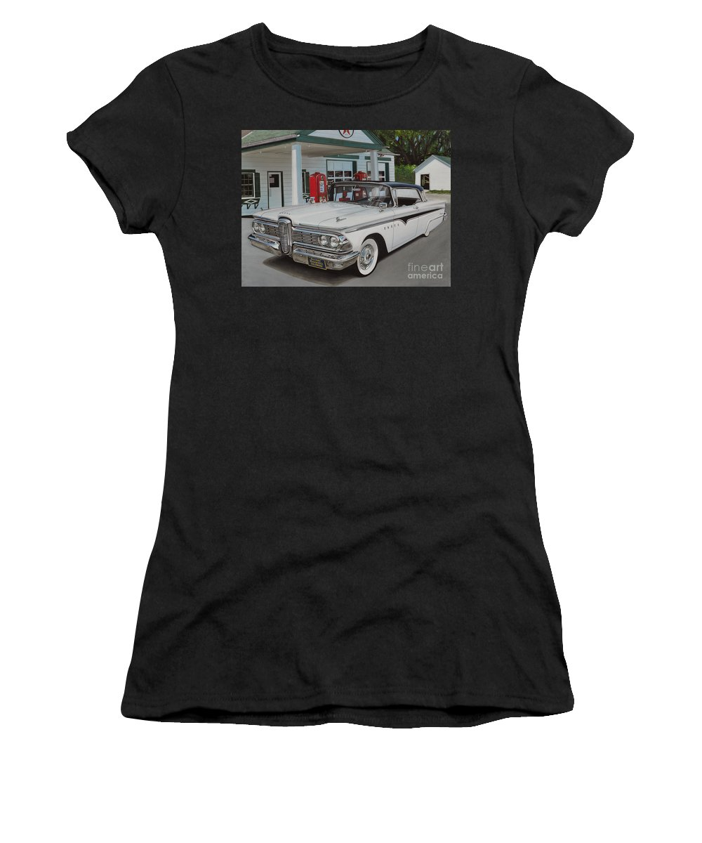 Edsel Women's T-Shirt (Athletic Fit) featuring the drawing 1959 Edsel Ranger by Paul Kuras