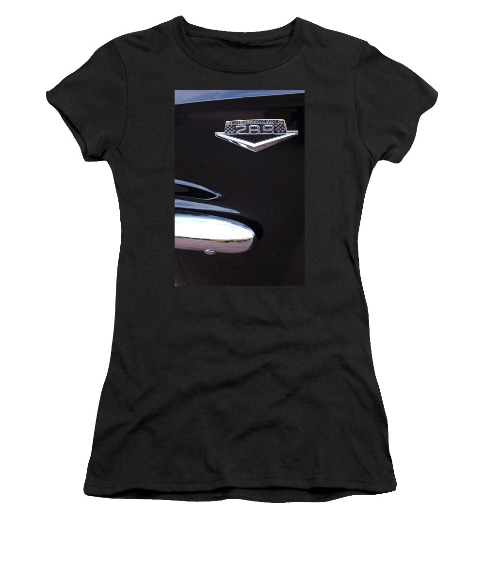 1965 Mustang Emblem Women's T-Shirt (Athletic Fit) featuring the photograph 1965 Ford Mustang Gt 289 Emblem -0309c by Jill Reger