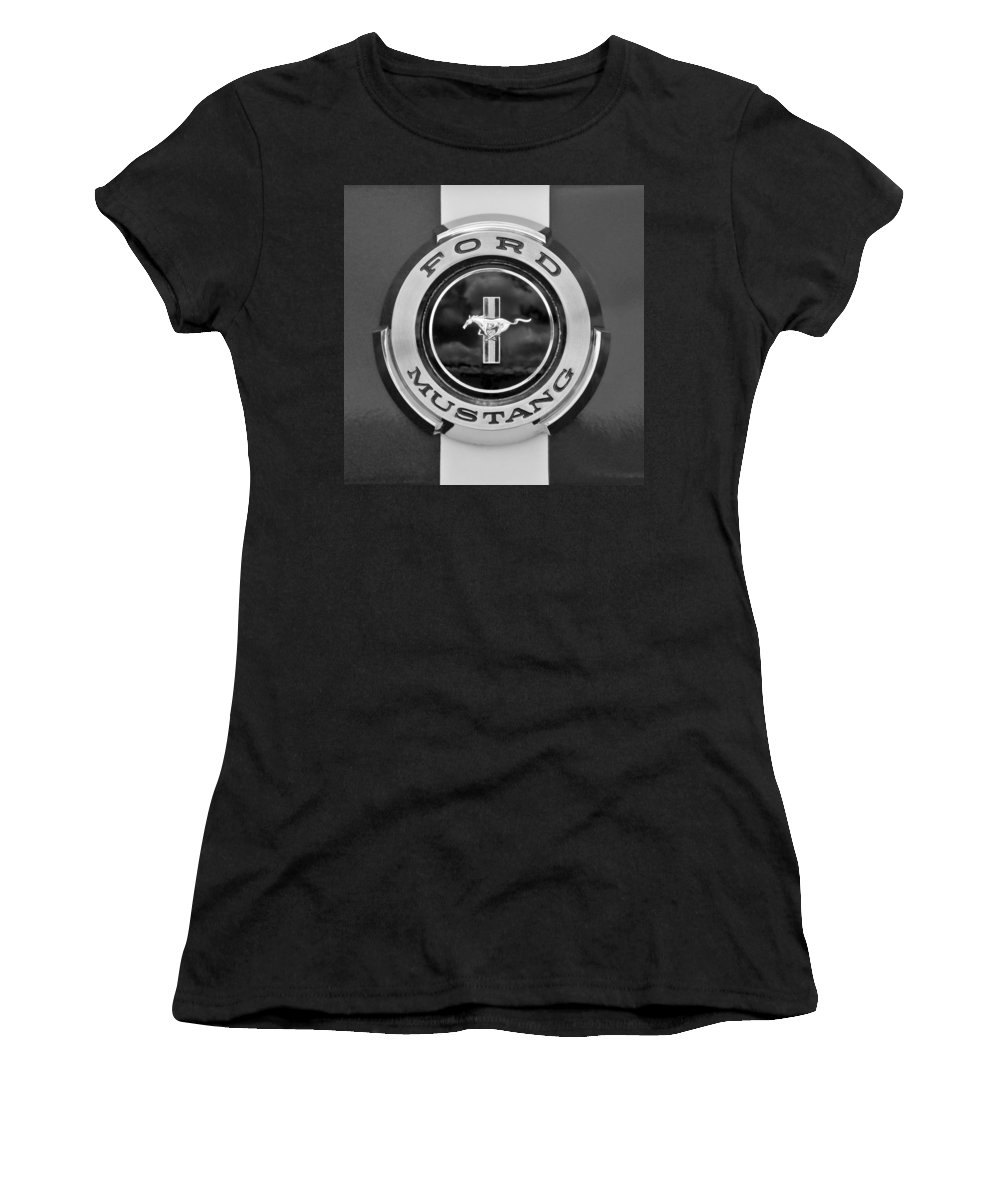 1966 Ford Mustang Women's T-Shirt featuring the photograph 1966 Ford Mustang Shelby Gt 350 Emblem Gas Cap -0295bw by Jill Reger