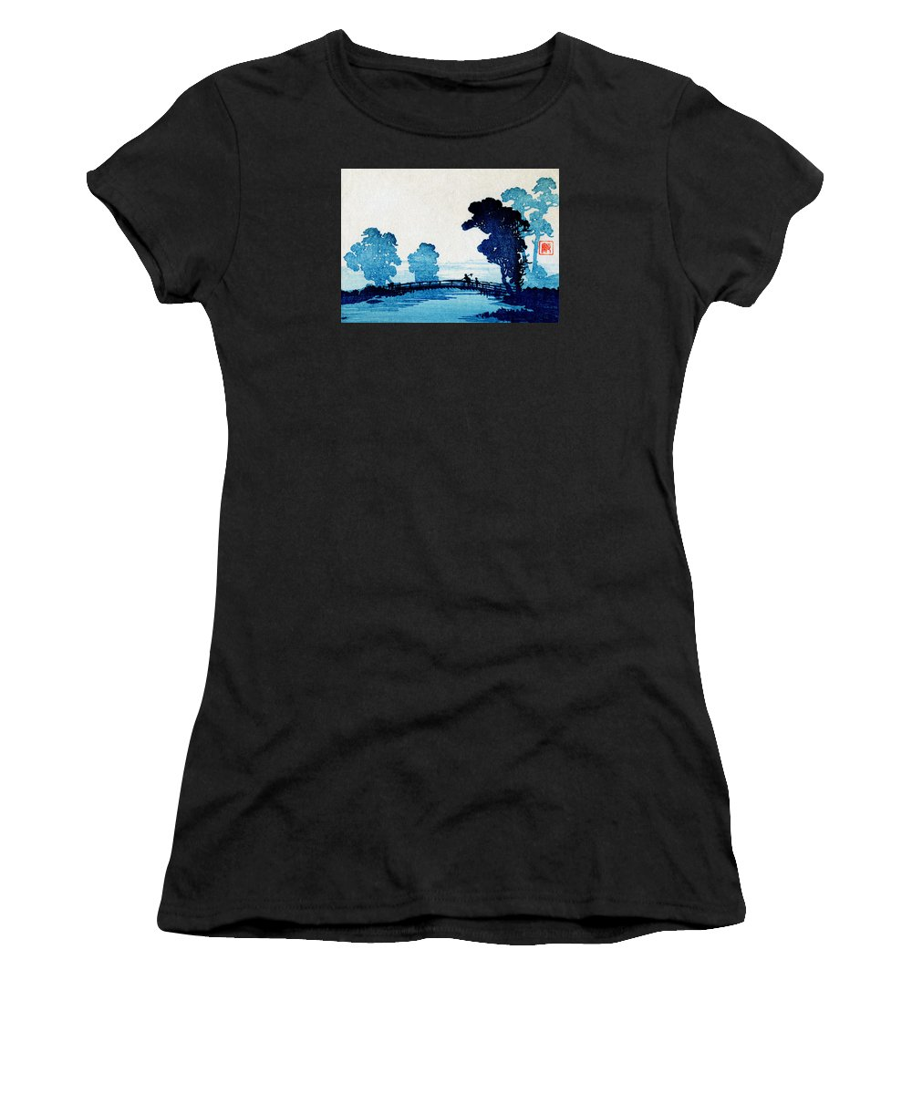 Historicimage Women's T-Shirt featuring the painting 19th C. Japanese Father And Son Crossing Bridge by Historic Image