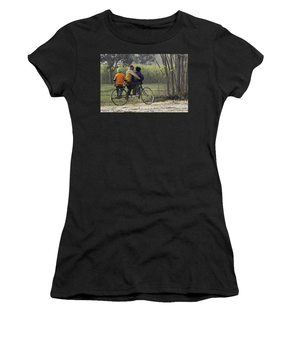 Balancing On A Cycle Women's T-Shirt (Athletic Fit) featuring the digital art 3 Young Children On A Cycle At The Side Of The Road by Ashish Agarwal