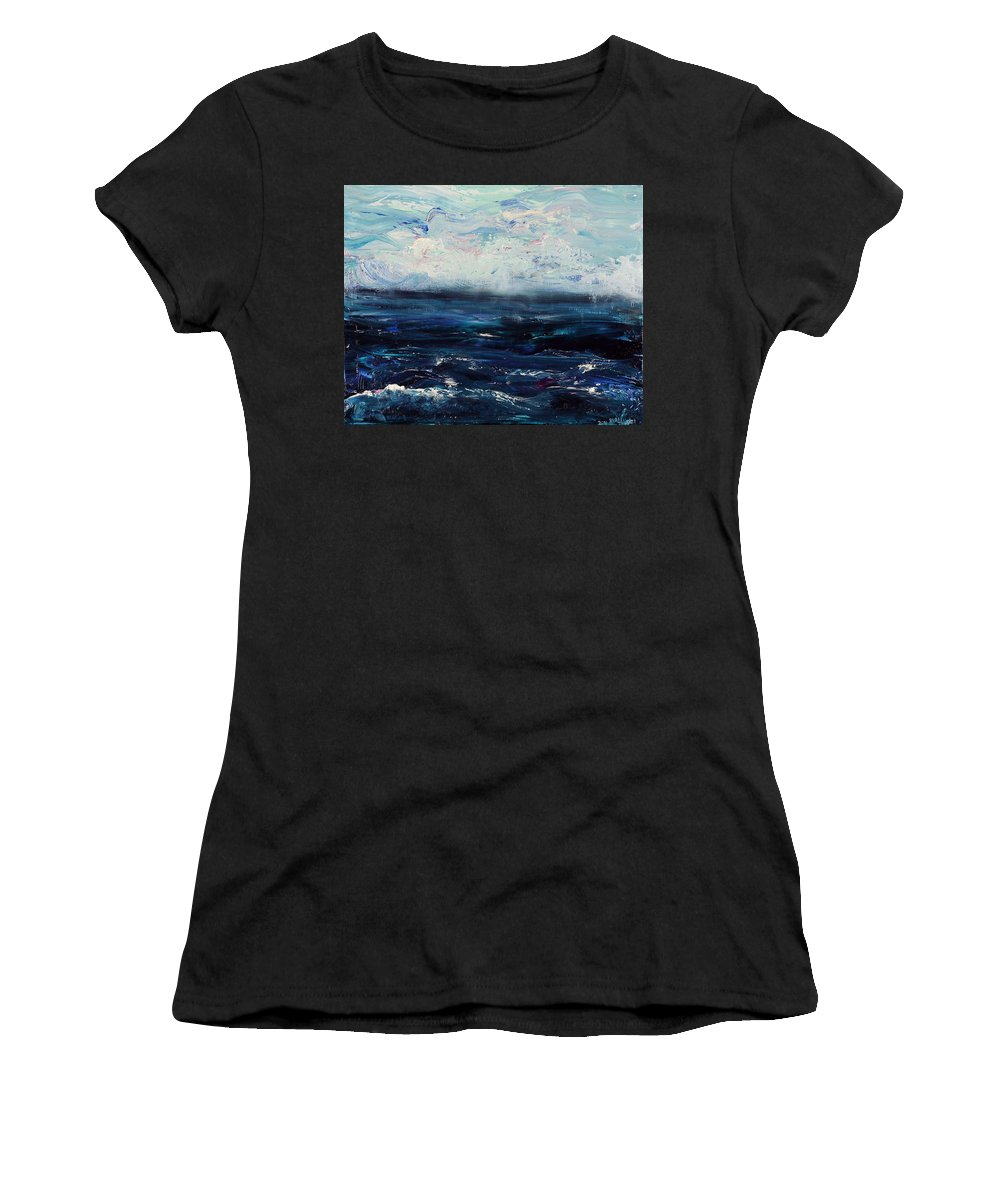 Storm Women's T-Shirt featuring the painting Ahead Of The Storm by Regina Valluzzi