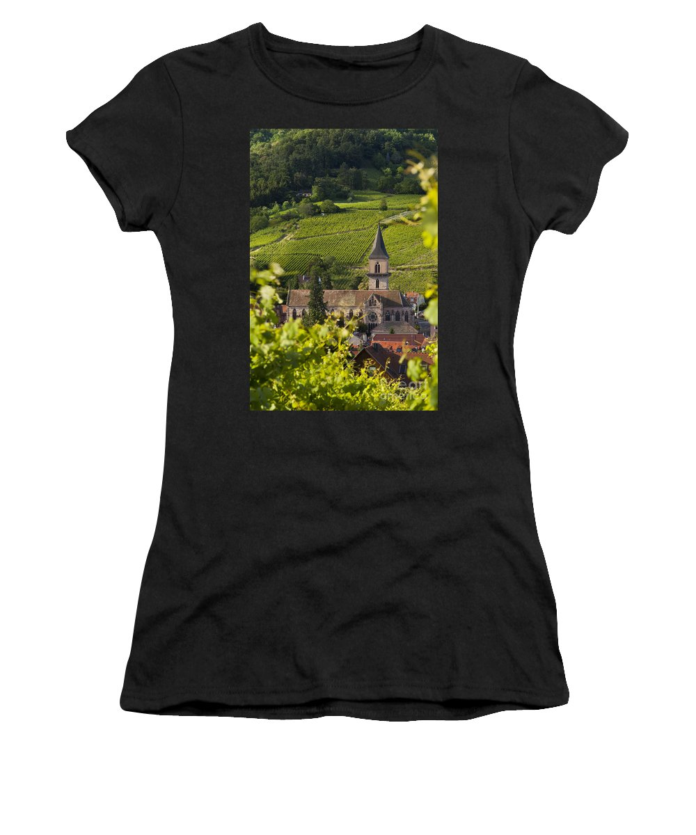 Ribeauville Women's T-Shirt (Athletic Fit) featuring the photograph Alsace Church by Brian Jannsen