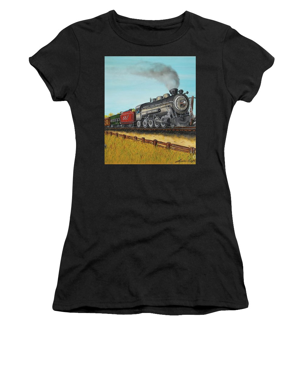 Acrylic Painting Women's T-Shirt featuring the painting American Express by Linda Simon