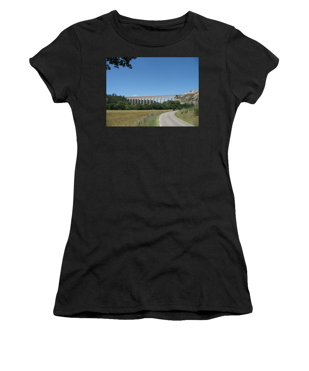 Aqueduct Women's T-Shirt featuring the photograph Aqueduct Roquefavour by Christiane Schulze Art And Photography