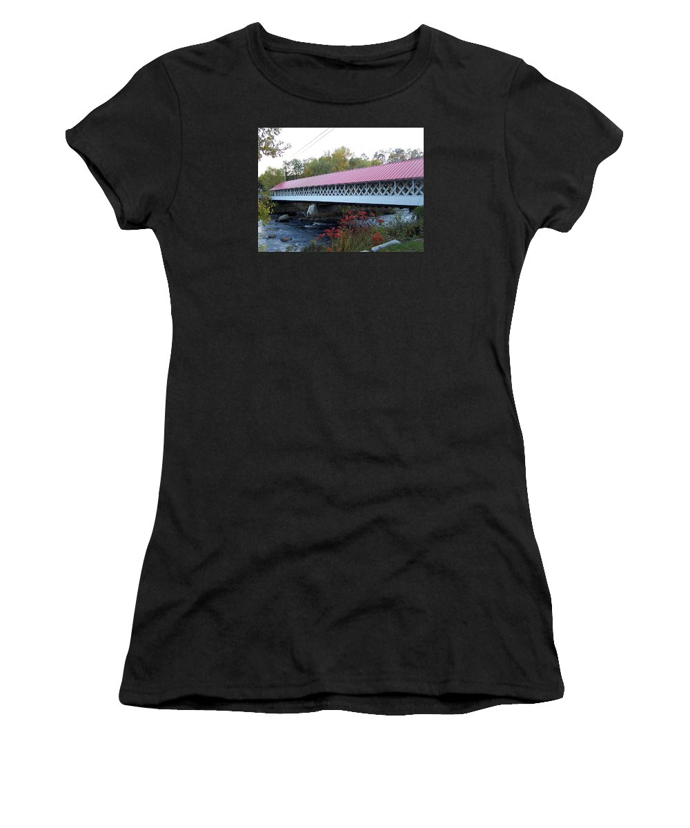 Winchester Women's T-Shirt (Athletic Fit) featuring the photograph Ashuelot Covered Bridge by Catherine Gagne