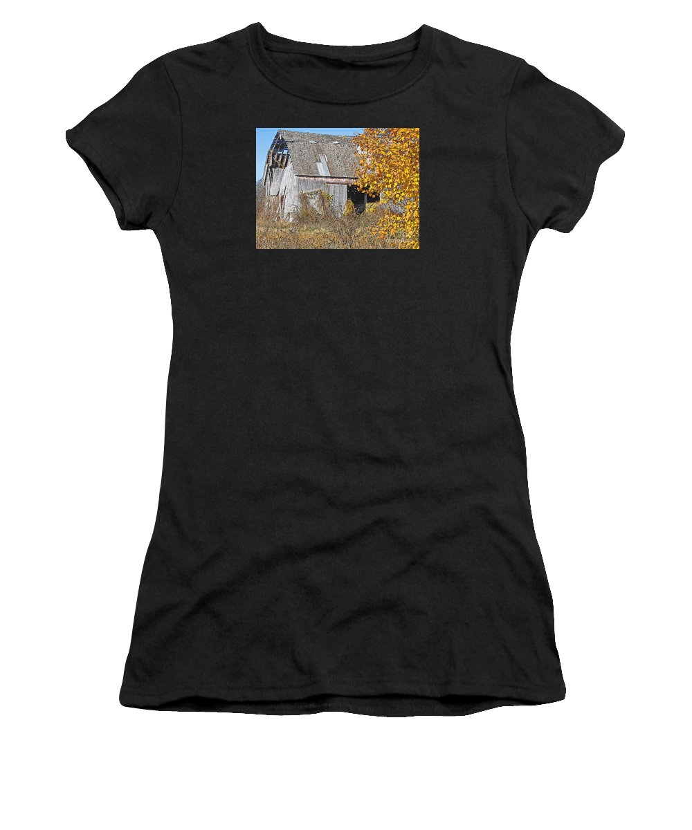 Vintage Women's T-Shirt (Athletic Fit) featuring the photograph Autumn Barn by Ann Horn
