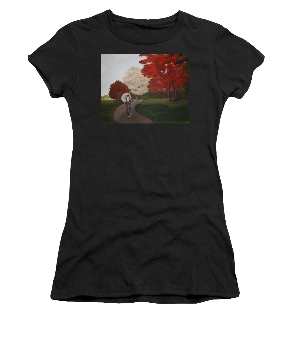Geisha Women's T-Shirt (Athletic Fit) featuring the painting Autumn Geisha by Erin Nessler