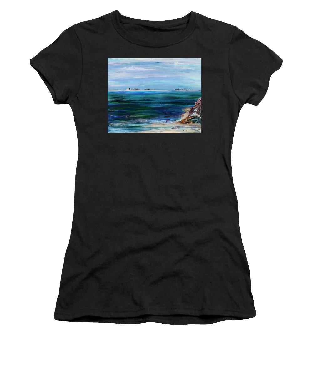 Barrier Islands Women's T-Shirt featuring the painting Barrier Islands by Regina Valluzzi