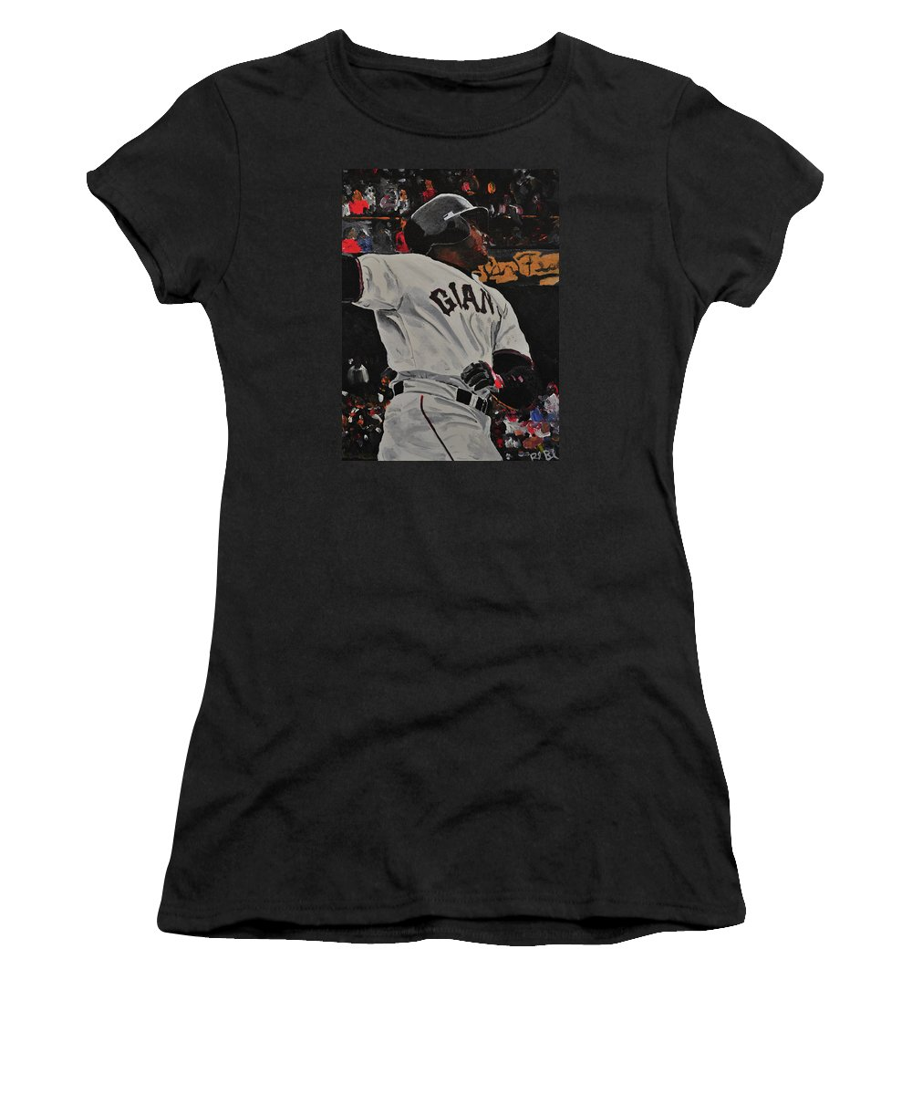 Barry Bonds Women's T-Shirt (Athletic Fit) featuring the painting Barry Bonds World Record Breaking Home Run by Ruben Barbosa