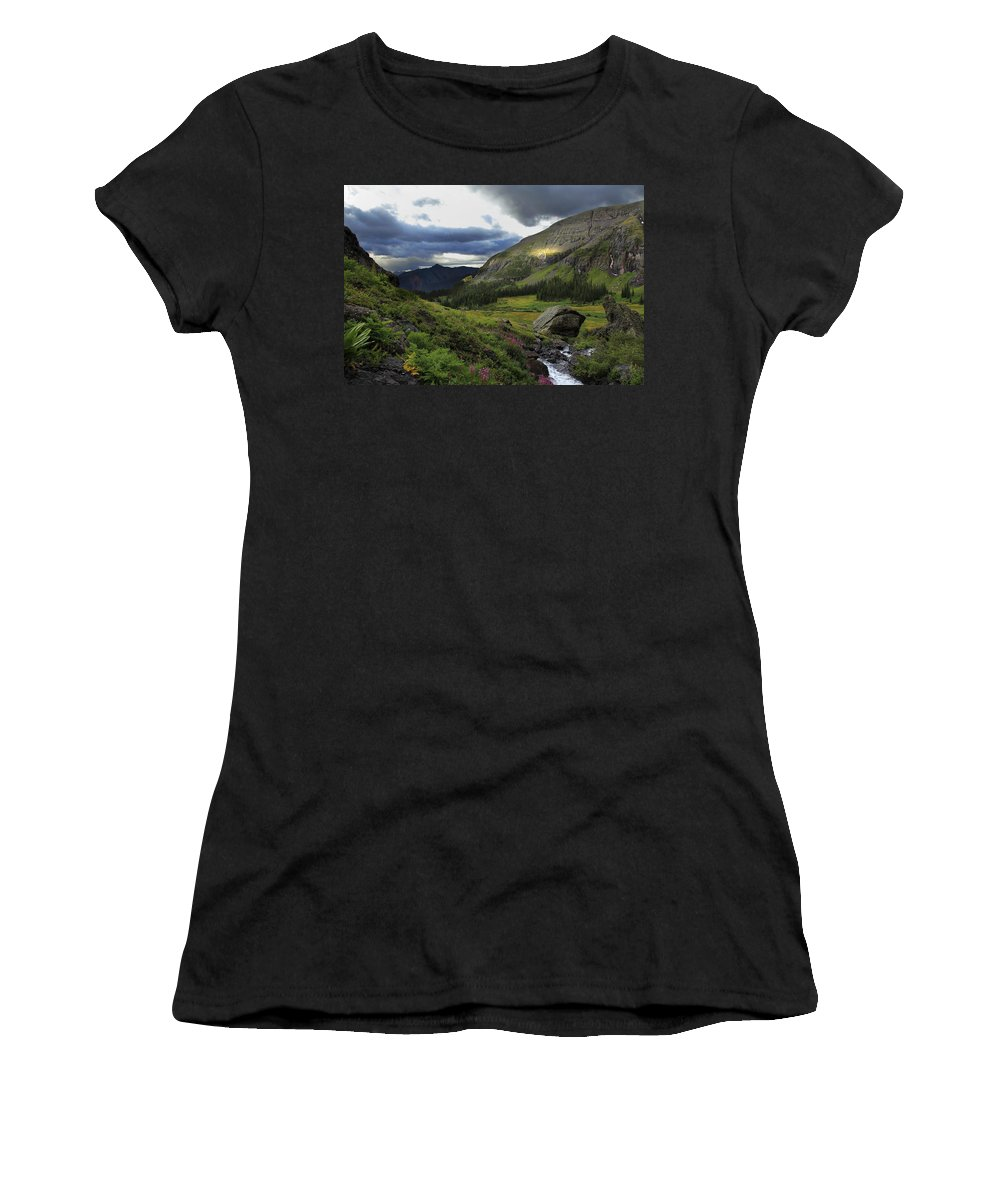 Colorado Women's T-Shirt featuring the photograph Cascade In Lower Ice Lake Basin by Alan Vance Ley