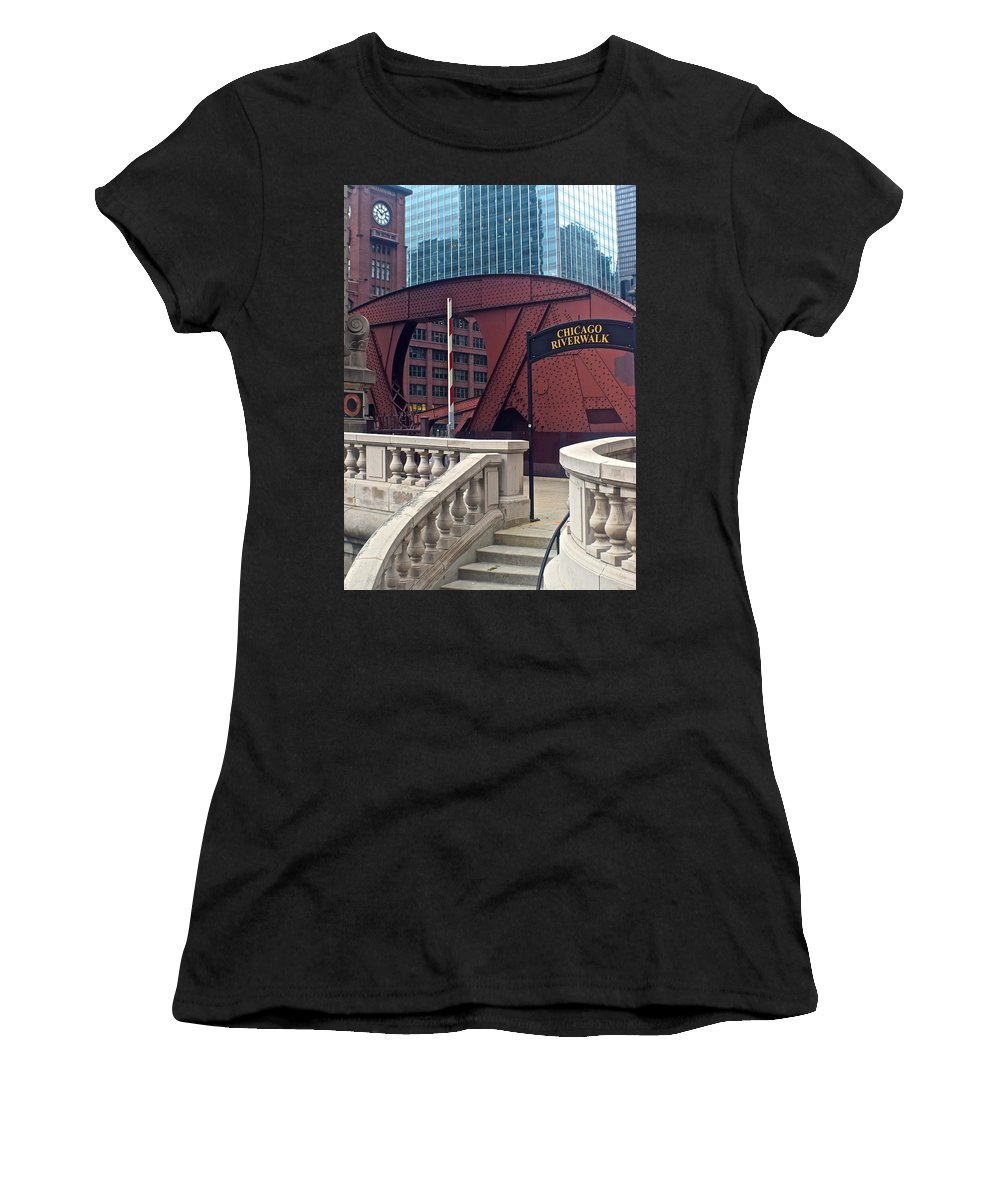 Chicago Women's T-Shirt (Athletic Fit) featuring the photograph Chicago Riverwalk by Frozen in Time Fine Art Photography
