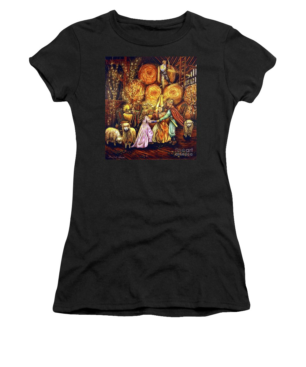 Children Women's T-Shirt (Athletic Fit) featuring the painting Children's Enchantment by Linda Simon