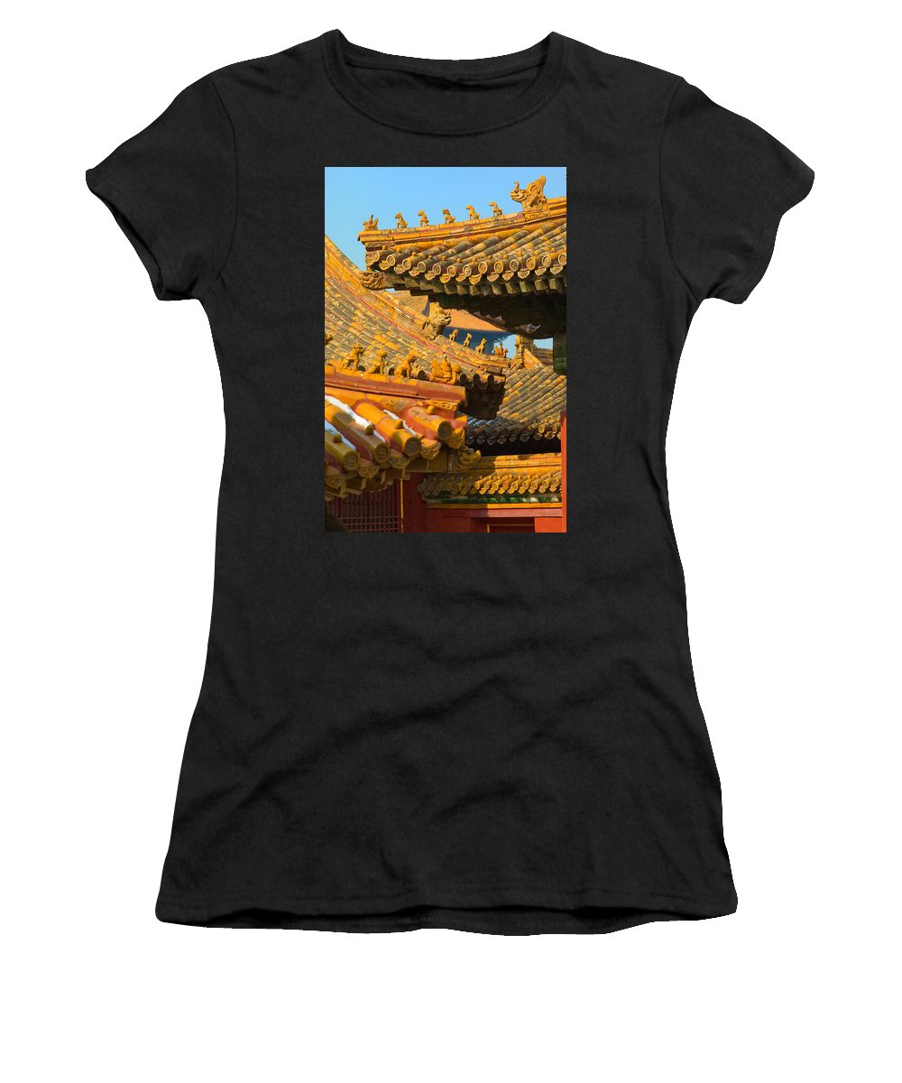 China Women's T-Shirt (Athletic Fit) featuring the photograph China Forbidden City Roof Decoration by Sebastian Musial