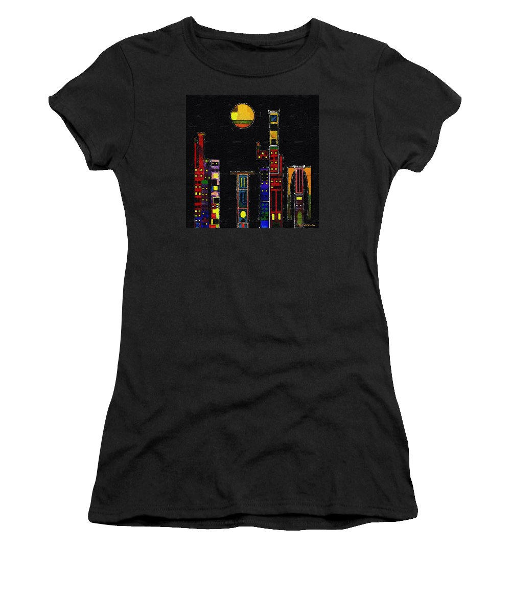 City Women's T-Shirt (Athletic Fit) featuring the painting Chinatown by RC DeWinter
