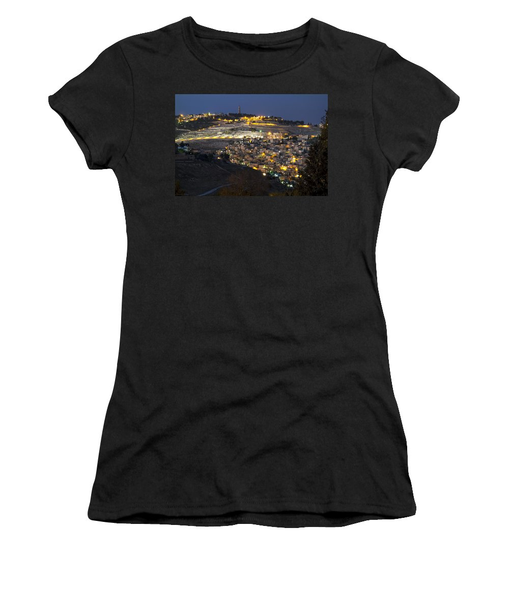 Jerusalem Color Landscape Israel Night Women's T-Shirt featuring the photograph City Of Gold by Joseph Hedaya