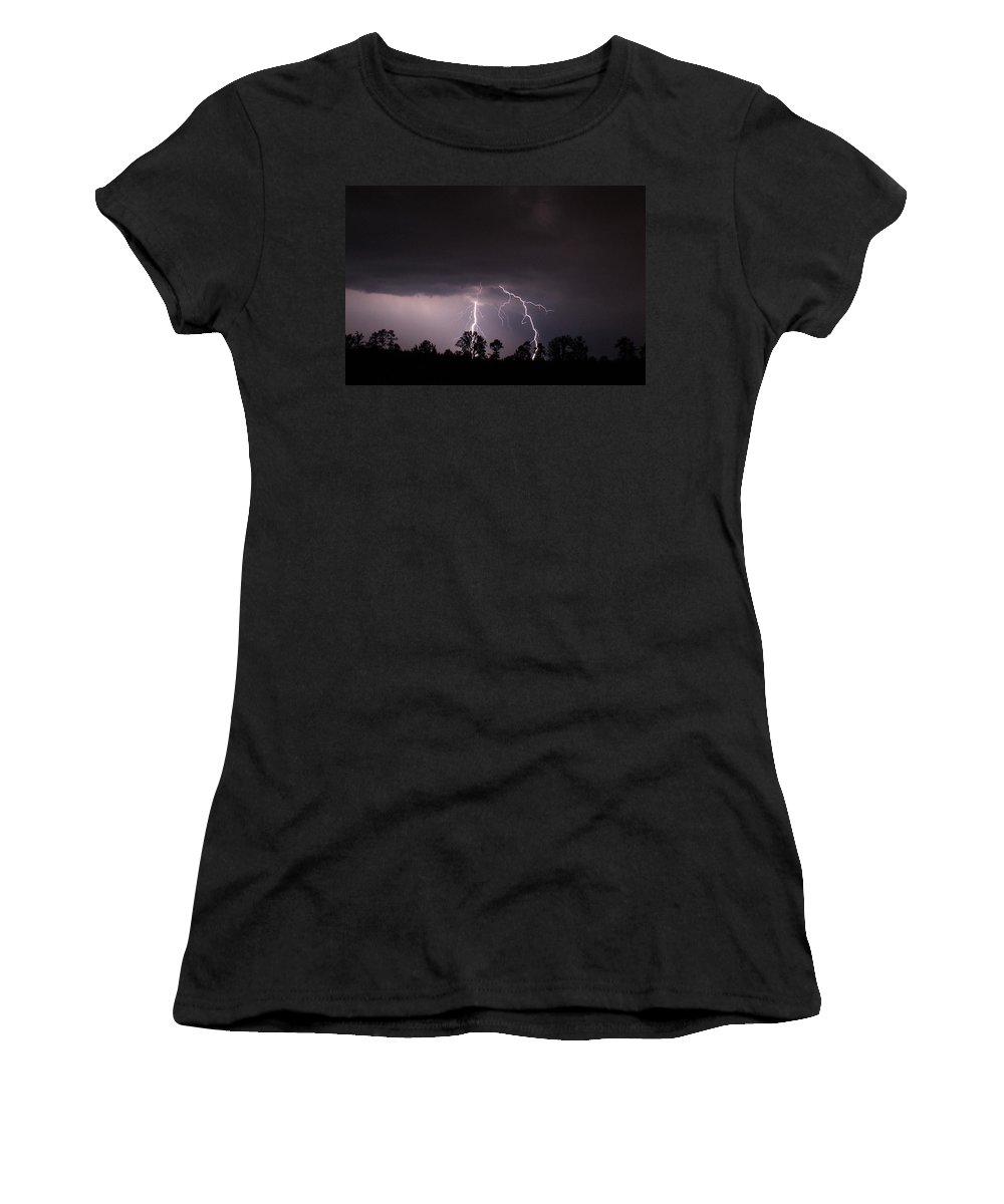 Lightning Women's T-Shirt featuring the photograph 2 Close by Reid Callaway