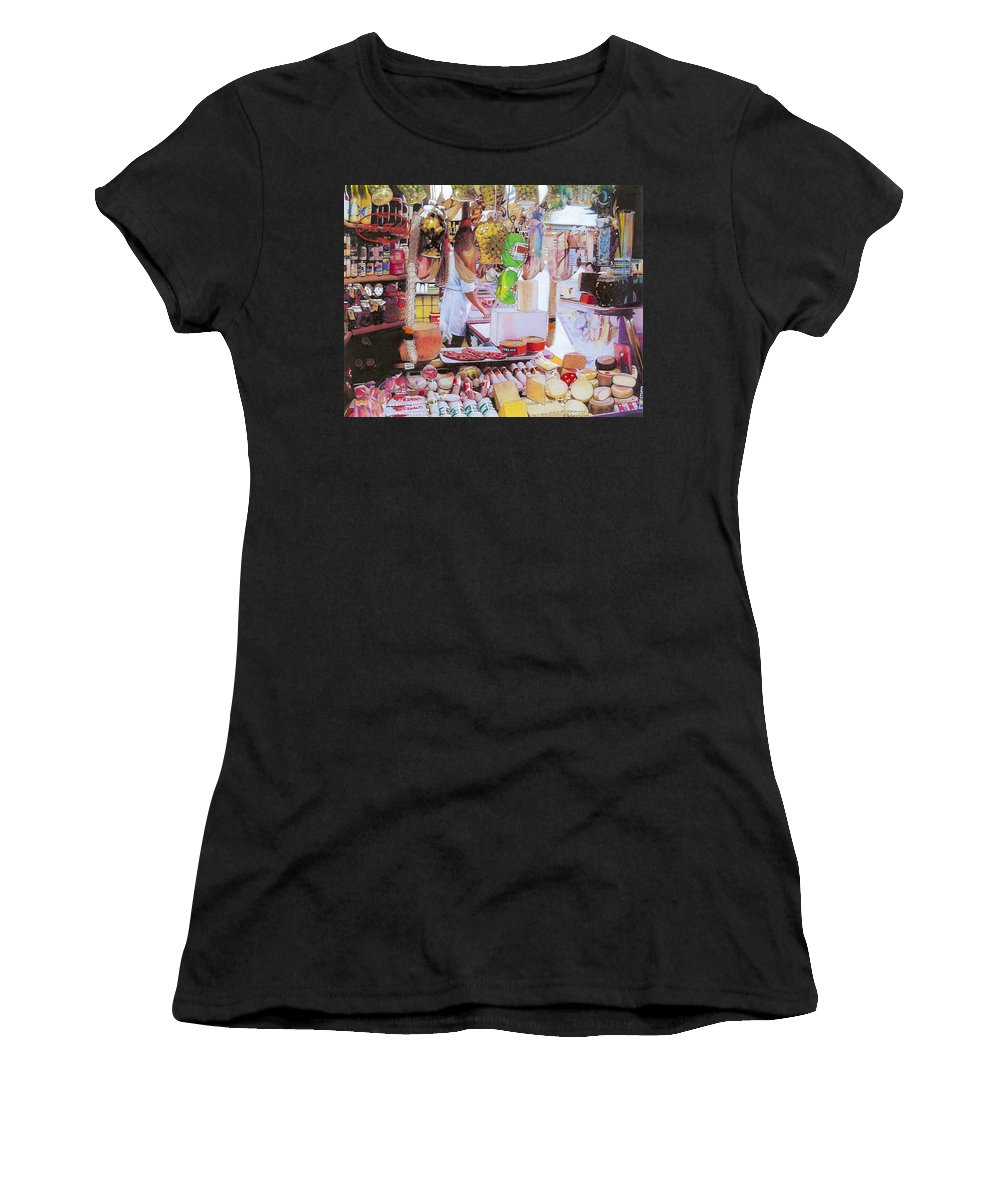 Food Women's T-Shirt featuring the mixed media Deli On The Via Condotti by Constance Drescher